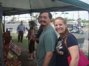 Chris and Kelly at a roadside fruit stand.  Do you think Texas is ready for two brothers, with waxed mustaches?